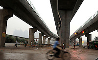 A new rail track is being constructed in Longhua in Guangzhou, China..22 Apr 2010