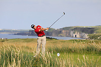 Richard James (WAL) on the 15th tee during the Afternoon Singles between Ireland and Wales at the Home Internationals at Royal Portrush Golf Club on Thursday 13th August 2015.<br /> Picture:  Thos Caffrey / www.golffile.ie