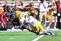 College Park, MD - OCT 15, 2016: Minnesota Golden Gophers defensive back Antonio Shenault (34) puts a big hit on the Maryland Terrapins return man during game between Maryland and Minnesota at Capital One Field at Maryland Stadium in College Park, MD. (Photo by Phil Peters/Media Images International)