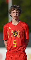 20180417 - TUBIZE , BELGIUM : Belgian Lukas Willen pictured during the friendly  soccer match between  under 15 teams of  Belgium and Switzerland , in Tubize , Belgium . Tuesday 17 th April 2018 . PHOTO SPORTPIX.BE / DIRK VUYLSTEKE