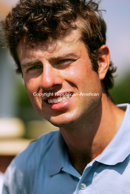 WATERBURY, CT - 03 AUGUST 2005 -080305JS04-- Nick Cook talks to reporters following his win over Brent Paladino to win the 71st State Open golf championship Wednesday at the Country Club of Waterbury.   --Jim Shannon Photo--Brent Paladino; Nick Cook; Country Club of Waterbury are CQ
