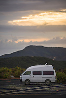 Campervan at sunrise at Cape Reinga (Te Rerenga Wairua), Northland, New Zealand