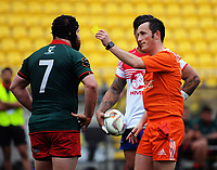 Referee James Munro sin bins Wairarapa captain Eddie Cranston during the Heartland Championship rugby match between Horowhenua Kapiti and Wairarapa Bush at Westpac Stadium in Wellington, New Zealand on Sunday, 1 October 2017. Photo: Dave Lintott / lintottphoto.co.nz