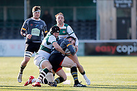 Lewis Jones of Ealing Trailfinders brings the man down during the Championship Cup Quarter Final match between Ealing Trailfinders and Nottingham Rugby at Castle Bar , West Ealing , England  on 2 February 2019. Photo by Carlton Myrie / PRiME Media Images.