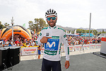 Alejandro Valverde (ESP) Movistar Team wearing the Combined Jersey at sign on before the start of Stage 6 of the La Vuelta 2018, running 150.7km from Huércal-Overa to San Javier, Mar Menor, Sierra de la Alfaguara, Andalucia, Spain. 30th August 2018.<br /> Picture: Unipublic/Photogomezsport | Cyclefile<br /> <br /> <br /> All photos usage must carry mandatory copyright credit (© Cyclefile | Unipublic/Photogomezsport)