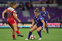 Orlando, FL - Tuesday August 08, 2017: Meggie Dougherty Howard, Maddy Evans during a regular season National Women's Soccer League (NWSL) match between the Orlando Pride and the Chicago Red Stars at Orlando City Stadium.