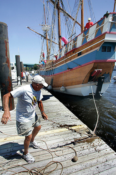 Ropes were thrown from the 16th century replica ship, Elizabeth II, and tied up at the Grand Marina on the New Bern waterfront Wednesday afternoon for the New Bern 300th Anniversary Jubilee Weekend. It will remained docked behind the Hilton through the weekend, hosting area school groups Thursday and Friday. There will be no admission to tour the ship during the weekend.  Chuck Beckley/ The Sun Journal