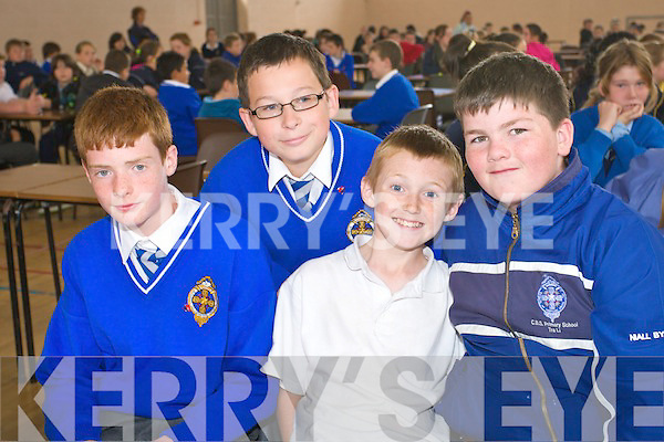 Derek Horgan, David Oula, Dillon O'Brien and Niall Byrneof CBS Tralee pictured at the primary schools pioneer quiz at Presentation Secondary school Gym, Tralee on Thursday.