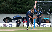 Cricket Scotland - Scotland V Namibia One Day International match at Grange CC today (Thur) - this match is the first of two ODI matches this week against Zimbabwe - Scotland's Ally Evans bowls as the umbrellas go up - picture by Donald MacLeod - 15.06.2017 - 07702 319 738 - clanmacleod@btinternet.com - www.donald-macleod.com