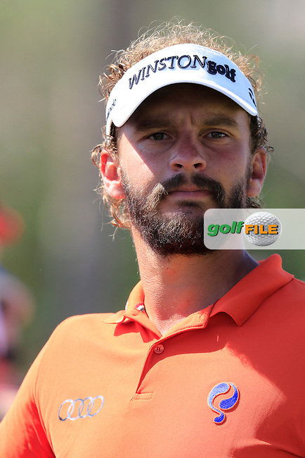 Joost Luiten (NED) on the 1st tee to start his match during Sunday's Final Round of the 2016 Omega Dubai Desert Classic held at the Emirates Golf Club, Dubai. 7th February 2016.<br /> Picture: Eoin Clarke | Golffile<br /> <br /> <br /> All photos usage must carry mandatory copyright credit (&copy; Golffile | Eoin Clarke)