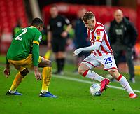12th February 2020; Bet365 Stadium, Stoke, Staffordshire, England; English Championship Football, Stoke City versus Preston North End; Thibaud Verlinden of Stoke City takes on Darnell Fisher of Preston North End
