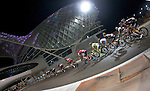 The peloton under floodlights during Stage 4, The Yas Stage, of the 2015 Abu Dhabi Tour running 110 km 20 laps around the Yas Marina Circuit, Abu Dhabi. 11th October 2015.<br /> Picture: ANSA/Claudio Peri | Newsfile