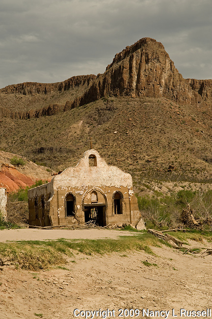 Church in the western desert in Texas at the Contrabando movie site along Highway 170 near the USA and Mexican border used in several western movies