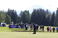 Haydn Porteous (RSA) putts on the 17th green during Thursday's Round 1 of the 2017 Omega European Masters held at Golf Club Crans-Sur-Sierre, Crans Montana, Switzerland. 7th September 2017.<br /> Picture: Eoin Clarke | Golffile<br /> <br /> <br /> All photos usage must carry mandatory copyright credit (&copy; Golffile | Eoin Clarke)