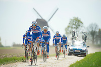 Team Wanty-GroupeGobert through anothe cobbled section<br /> <br /> 2014 Paris-Roubaix reconnaissance