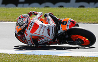 Honda MotoGP rider Marc Marquez of Spain rides during the first practice session of the Australian Motorcycle GP in Phillip Island, Oct 18, 2013. Photo by Daniel Munoz/VIEWpress IMAGE RESTRICTED TO EDITORIAL USE ONLY- STRICTLY NO COMMERCIAL USE.