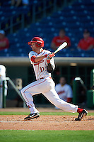 Ball State Cardinals Sean Kennedy (10) at bat during a game against the Louisville Cardinals on February 19, 2017 at Spectrum Field in Clearwater, Florida.  Louisville defeated Ball State 10-4.  (Mike Janes/Four Seam Images)
