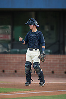 Mobile BayBears catcher Jack Kruger (10) during a Southern League game against the Jacksonville Jumbo Shrimp on May 8, 2019 at Hank Aaron Stadium in Mobile, Alabama.  Jacksonville defeated Mobile 7-1.  (Mike Janes/Four Seam Images)