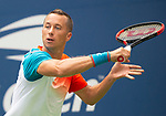 September  1, 2018:  Philipp Kohlschreiber (GER) defeated Alexander Zverev (GER)  6-7, 6-4, 6-1, 6-3, at the US Open being played at Billy Jean King Ntional Tennis Center in Flushing, Queens, New York. Karla Kinne/Tennisclix