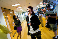 NEW YORK - APRIL 19: Shirley Manson, lead singer of Garbage, laughs at Sirius Headquarters on April 19, 2005 in New York City. (Photo by Landon Nordeman)