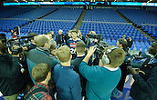 15.01.2014 London, England.  Atlanta Hawks' star Kyle Korver [26]  is interviewed by the press during the NBA Media Day. The media event forms part of  NBA Basketball Global Game between Atlanta Hawks v Brooklyn Nets taking place at the O2 Arena London Jan 16th