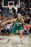 03 APR 2012:  Skylar Diggins (4) of the University of Notre Dame drives downcourt against Kimetria Hayden (1) of Baylor University during the Division I Women's Basketball Championship held at the Pepsi Center in Denver, CO.  Jamie Schwaberow/NCAA Photos