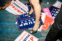 Fox News host and former Westchester County District Attorny Jeanine Pirro stands on discarded campaign signs after President-elect Donald Trump left after speaking in the ballroom in the Midtown Hilton at the election night victory rally for Republican presidential nominee Donald Trump, after the presidential race was called for Trump in the early hours of Nov. 9, 2016.