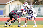 Manhattan Beach, CA 02-11-17 - Kaleb Pattawi (Santa Clara #14) and Ren-Taylor Chang (Loyola Marymount #20) in action during the MCLA non-conference game between LMU (SLC) and Santa Clara (WCLL).  Santa Clara defeated LMU 18-3.