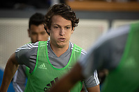 SAN JOSE, CA - AUGUST 24: Carlos Fierro #21 of the San Jose Earthquakes during warmup during a game between Vancouver Whitecaps FC and San Jose Earthquakes at Avaya Stadium on August 24, 2019 in San Jose, California.