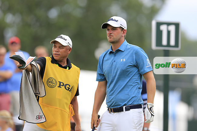 Bernd Wiesberger (AUT) and caddy Shane on the 11th tee during Friday's Round 2 of the 2017 PGA Championship held at Quail Hollow Golf Club, Charlotte, North Carolina, USA. 11th August 2017.<br /> Picture: Eoin Clarke | Golffile<br /> <br /> <br /> All photos usage must carry mandatory copyright credit (&copy; Golffile | Eoin Clarke)