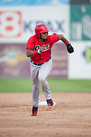 Orem Owlz third baseman Kevin Maitan (9) runs to third base during a Pioneer League game against the Missoula Osprey at Ogren Park Allegiance Field on August 19, 2018 in Missoula, Montana. The Missoula Osprey defeated the Orem Owlz by a score of 8-0. (Zachary Lucy/Four Seam Images)