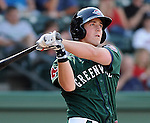First baseman Chris McGuiness (24) of the Greenville Drive, Class A affiliate of the Boston Red Sox, at a game against the Lexington Legends April 25, 2010, at Fluor Field at the West End in Greenville, S.C. Photo by: Tom Priddy/Four Seam Images