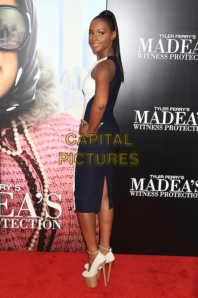 "Tika Sumpter.The Premiere of ""Madea's Witness Protection"" held at AMC Loews Lincoln Square Cinemas, New York, NY., USA..June 25th, 2012.full length black white blue sleeveless dress platform shoes hand on hip side looking over shoulder .CAP/LNC/TOM.©LNC/Capital Pictures."