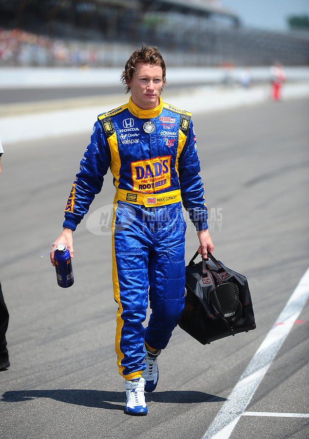 May 28, 2010; Indianapolis, IN, USA; IndyCar Series driver Mike Conway during carb day prior to the Indianapolis 500 at the Indianapolis Motor Speedway. Mandatory Credit: Mark J. Rebilas-