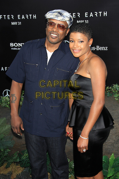 DJ Jazzy Jeff (Jeffrey Allen Townes) &amp; Lynette<br /> The New York Premiere of &quot;After Earth&quot; at the Ziegfeld Theatre, New York, NY., USA.<br /> May 29th, 2013<br /> half length black strapless peplum dress blue shirt sunglasses shades white check flat cap hat married husband wife <br /> CAP/LNC/TOM<br /> &copy;LNC/Capital Pictures