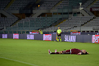 16th July 2020; Olympic Grande Torino Stadium, Turin, Piedmont, Italy; Serie A Football, Torino versus Genoa; Andrea Belotti of Torino FC celebrates exhausted after scoring the goal for 3-0 for Torino in the 90th minute