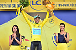 Fabio Aru (ITA) Astana takes over the race leaders Yellow Jersey at the end of Stage 12 of the 104th edition of the Tour de France 2017, running 214.5km from Pau to Peyragudes, France. 13th July 2017.<br /> Picture: ASO/Pauline Ballet | Cyclefile<br /> <br /> <br /> All photos usage must carry mandatory copyright credit (&copy; Cyclefile | ASO/Pauline Ballet)
