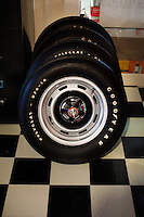 Reinholds, Pennsylvania, February 10, 2015 - Original, and undriven, 1971 Goodyear radials in the garage of Brian Moyer for use on his AMC Gremlins. He says he uses these for when he shows one of his cars. Moyer has one several trophies for his Gremlins at auto shows. <br /> <br /> Moyer owns 16 AMC Gremlins. The Gremlin was introduced on April Fools Day (April 1) in 1970 featuring a shortened Hornet body with a Kammback tail and was manufactured in the US via AMC and in Mexico via AMC's subsidiary VAM. It's lifecycle ended in 1978 when it was replaced by the AMC Spirit. Moyer became interested as a kid when he saw the early Gremlin commercials in 1970. His first car was a Gremlin and he has never not owned one. Today he has arguably the most unique collection of Gremlins in the world, including several that are one-of-a kind models. <br /> <br /> CREDIT: Daryl Peveto for The Wall Street Journal<br /> Photo Assignment ID: 36892 <br /> Slug: MYRIDE_Gremlin