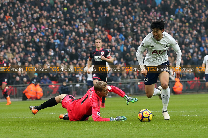 Son Heung-Min of Tottenham Hotspur scores the opening goal during Tottenham Hotspur vs Huddersfield Town, Premier League Football at Wembley Stadium on 3rd March 2018