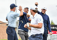 22nd July 2020; Blaine, Minnesota, USA;  Actor Josh Duhamel and Minnesota Vikings tight end Kyle Rudolph congratulate Paul Casey on his tee shot during the 3M Open Compass Challenge at TPC Twin Cities in Blaine, Minnesota