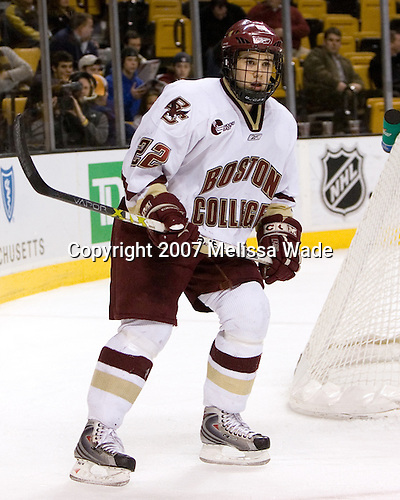 Dan Bertram (Boston College - Calgary, AB) - The Boston College Eagles defeated the Harvard University Crimson 3-1 in the first round of the 2007 Beanpot Tournament on Monday, February 5, 2007, at the TD Banknorth Garden in Boston, Massachusetts.  The first Beanpot Tournament was played in December 1952 with the scheduling moved to the first two Mondays of February in its sixth year.  The tournament is played between Boston College, Boston University, Harvard University and Northeastern University with the first round matchups alternating each year.