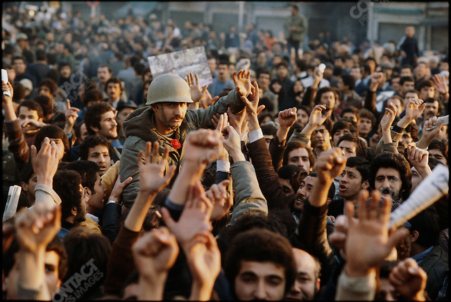 Soldiers join the revolutionaries. Tehran, January 15, 1979