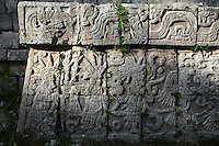 Detail of bas-relief, The Market, 900-1200, Toltec architecture, Chichen Itza, Yucatan, Mexico. Picture by Manuel Cohen