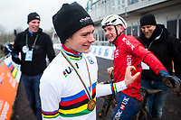Picture by Alex Whitehead/SWpix.com - 03/02/2018 - Cycling - 2018 UCI Cyclo-Cross World Championships - Valkenburg, The Netherlands - Great Britain's Ben Tulett (L) is congratulated by older brother Dan (R) after winning Gold in the Junior Men's race.