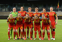 20140507 - LEUVEN , BELGIUM : Belgian Team pictured with Goalkeeper Nicky Evrard (1) , Davina Philtjens (2) , Heleen Jaques (3) , Cecile De Gernier (7) , Audrey Demoustier (8) , Tessa Wullaert (9) , Aline Zeler (10) , Janice Cayman (11) , Lien Mermans (14) , Maud Coutereels (18) and Julie Biesmans (20) during the female soccer match between Belgium and The Netherlands, on the eighth matchday in group 5 of the UEFA qualifying round to the FIFA Women World Cup in Canada 2015 at Stadion Den Dreef , Leuven . Wednesday 7th May 2014 .  PHOTO DAVID CATRY