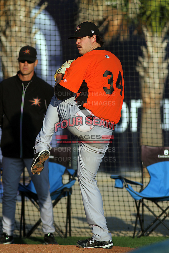 Frederick Keys pitcher Scott Copeland #34 throwing in the bullpen before a game against the Myrtle Beach Pelicans at Tickerreturn.com Field at Pelicans Ballpark on April 24, 2012 in Myrtle Beach, South Carolina. Frederick defeated Myrtle Beach by the score of 8-3. (Robert Gurganus/Four Seam Images)