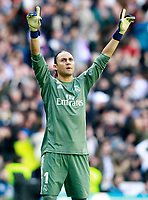 Real Madrid's Keylor Navas celebrates goal during La Liga match. April 8,2018. (ALTERPHOTOS/Acero) /NortePhoto NORTEPHOTOMEXICO