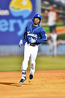 Asheville Tourists right fielder Ramon Marcelino (12) rounds the bases after hitting a home run during a game against the Columbia Fireflies at McCormick Field on April 12, 2018 in Asheville, North Carolina. The Fireflies defeated the Tourists 7-5. (Tony Farlow/Four Seam Images)