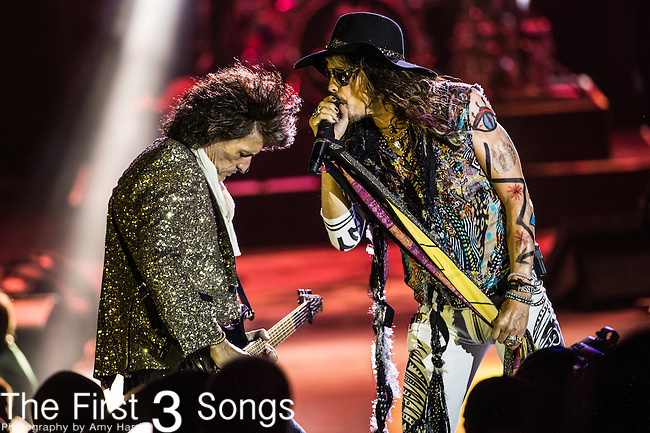 Steven Tyler and Joe Perry of Aerosmith performs at Riverbend Music Center in Cincinnati, Ohio.