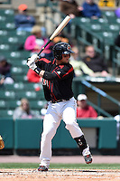 Rochester Red Wings catcher Dan Rohlfing (16) at bat during a game against the Louisville Bats on May 4, 2014 at Frontier Field in Rochester, New  York.  Rochester defeated Louisville 12-6.  (Mike Janes/Four Seam Images)